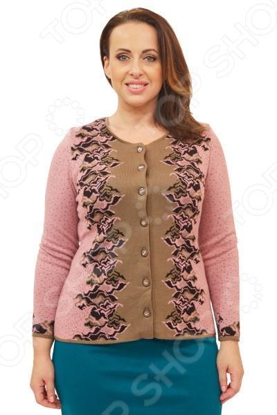 Жакет Milana Style «Алина». Цвет: розовыйЖакеты. Пиджаки<br>Жакет Milana Style Алина создан с учетом всех особенностей женской фигуры, чтобы вы могли легко создать неповторимый и элегантный женственный образ. Благодаря продуманному дизайну модель идеально подойдет женщинам с любым типом фигуры и любого возраста. Этот жакет прекрасен как для повседневного использования, так и для торжественных случаев.  Классический жакет полуприлегающего силуэта.  Центральная застежка на пуговицы.  Круглый вырез горловины подчеркнет красоту вашей шеи.  На фотографии модель представлена в сочетании с юбкой Венера . Жакет изготовлен из приятной вязанной ткани, состоящей на 70 из пана и на 30 из шерсти. Материал не линяет, не скатывается, формы от стирки не теряет.<br>