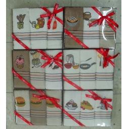 фото Комплект из 3-х махровых полотенец подарочный BONITA «Мороженое, пирожное, десерт». В ассортименте