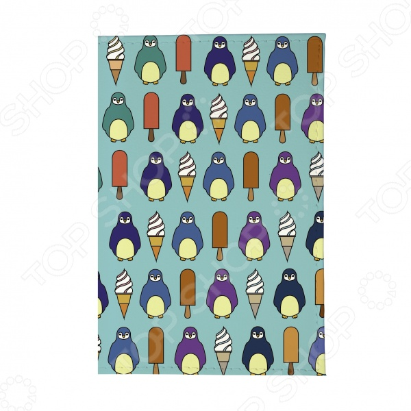 Обложка для паспорта Mitya Veselkov «Пингвины и эскимо»Обложки для паспортов<br>Mitya Veselkov Пингвины и эскимо это современная и ультрамодная обложка для вашего паспорта. Представленная модель предназначена для людей, которые хотят сделать жизнь ярче, красочней и к традиционным вещам подходят творчески. Изделие подходит как для внутреннего, так и заграничного удостоверения личности. Изготовленная из ПВХ обложка, надежно защитит важный документ от внешнего воздействия, поэтому он всегда будет как новый. Придайте паспорту оригинальности и подчеркните свою уникальность!<br>
