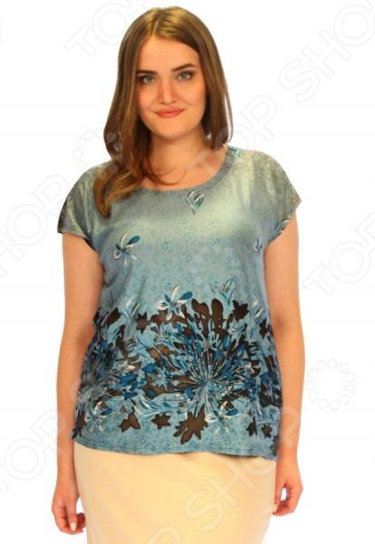 Блуза Элеганс «Инжир». Цвет: синийБлузы. Рубашки<br>Блуза Элеганс Инжир это легкая и нежная блуза, которая поможет вам создавать невероятные образы, всегда оставаясь женственной и утонченной. Благодаря отличному дизайну она скроет недостатки фигуры и подчеркнет достоинства. Блуза прекрасно смотрится с брюками и юбками, а насыщенный цвет привлекает взгляд. В этой блузе вы будете чувствовать себя блистательно как на работе, так и на вечерней прогулке по городу. Благодаря грамотному дизайну и удобной длине до середины бедра блуза идеально смотрится на женщинах с любым типом фигуры и любого возраста. Свободные короткие рукава скрывают несовершенства в области плеч. Круглый вырез горловины визуально удлинит горло и подчеркнет плавность черт. Оригинальный принт блузы это не только элемент стиля. Он имеет важную функцию: яркая расцветка, отвлекает внимание от недостатков и облегчает силуэт. Это классический и эффективный прием, помогающий добиться гармоничных пропорций тела. Блуза изготовлена из мягкой ткани 100 модал , благодаря чему материал не скатывается и не линяет после стирки. Ткань хорошо пропускает воздух, давая телу дышать. Не вызывает раздражения и аллергии. Швы обработаны текстурированными, эластичными нитями, благодаря чему не тянутся и не натирают кожу.<br>