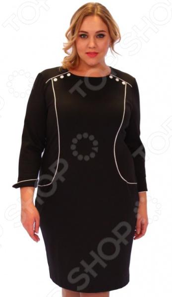 Платье Salvi «Секрет красавицы»Повседневные платья<br>Платье Salvi Секрет красавицы это легкое платье, которое поможет вам создавать невероятные образы, всегда оставаясь женственной и утонченной. Благодаря полуприталенному силуэту оно скроет недостатки фигуры и подчеркнет достоинства. В этом платье вы будете чувствовать себя блистательно как на работе, так и на вечерней прогулке по городу.  Модное платье с рельефными вытачками.  Манжеты, линии кокетки и вытачки имеют отделку контрастным кантом.  Шлица по спинке платья.  Швы обработаны текстурированными, эластичными нитями, поэтому не натирают кожу.  Уникальная модель, доступная только в телемагазине Top Shop . Платье сшито из приятного эластичного трикотажа 30 вискоза, 65 полиэстер, 5 эластан . Материал прекрасно пропускает воздух и не задерживает влагу.<br>