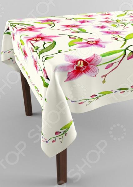 Фотоскатерть Сирень «Танец орхидей»Скатерти. Салфетки<br>Фотоскатерть Сирень Танец орхидей декоративная скатерть, которая сможет преобразить стол. Это яркая и очень стильная скатерть с приятной на ощупь поверхностью. Украшена принтом, который не выгорает, не выцветает на солнце и при стирке, что сделает по-настоящему желанной покупкой. Для окраски использовались специальные чернила, позволяющие прямую печать на ткани. Краска прошла все необходимые проверки и имеет сертификат качества. Фотопечать это красочные, объемные, реалистичные рисунки, нанесенные на ткань методом реактивной, многопиксельной печати. Рекомендуется гладить с обратной стороны, при температуре 150 С, а стирать при 30 С.<br>