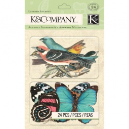 Купить Стикер-украшение K&Company «Птицы и бабочки. Весёлая погода»