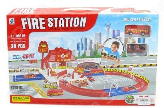 Набор игровой для мальчика Shantou Gepai «Пожарная станция с дорогой»