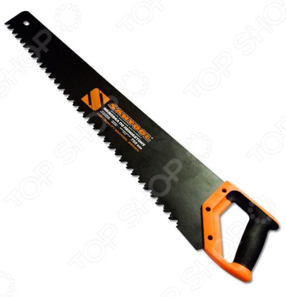 Ножовка по пенобетону SANTOOL 030121-700Лобзики. Ножовки. Пилы<br>Ножовка по пенобетону SANTOOL 030121-700 инструмент, используемый для распила пенобетонных блоков. Она станет отличным дополнением к набору ваших слесарных инструментов и пригодится при выполнении различных монтажных и строительных работ. Полотно ножовки выполнено из высокопрочного материала и покрыто составом, способствующим снижению трения и защищающим от возникновения коррозии. На зубьях имеются специальные твердосплавные напайки, а эргономичная прорезиненная рукоятка обеспечивает удобный и надежный захват инструмента во время выполнения работ.<br>