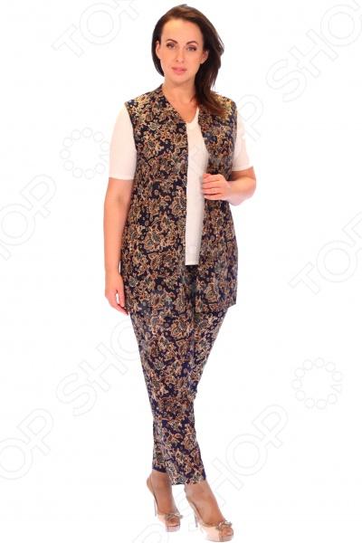 Костюм Матекс «Роскошная особа». Цвет: зеленыйКостюмы<br>Костюм Матекс Роскошная особа создан с учетом всех особенностей женской фигуры, чтобы вы могли всегда оставаться неотразимой. Благодаря продуманному дизайну костюм идеально подойдет женщинам с любым типом фигуры и любого возраста. Костюм состоит из удлиненной жилетки и брюк, которые можно носить комплектом или по отдельности:  Длина жилетки до середины бедра.  Брюки немного заужены к низу. Пояс на резинке. Костюм сшит из материала, состоящего на 100 из полиэстера. Материал не линяет, не скатывается, формы от стирки не теряет.<br>