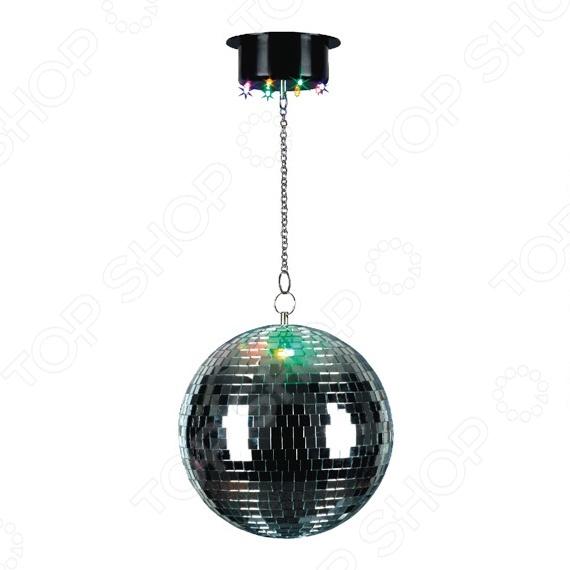 Диско-шар Funray ML 8Световые установки<br>Диско-шар Funray ML 8 зеркальный шар для создания атмосферы и подготовки к празднику. Предназначен для декорирования помещения во время танцев и другого веселья. Стены и потолок начнут переливаться разными цветами. Это возможность создать неповторимую атмосферу праздника у себя в квартире, на даче, в офисе или любом другом помещении. Благодаря своей форме лучи светильника рассеиваются по всей площади помещения, не оставляя пустых мест в пространстве. Есть возможность закрепить его на потолке. Основные характеристики:  Скорость вращения: 1,5 об ми.  Тип ламп: светодиод.  Цвет ламп: желтый, зеленый, фиолетовый, красный.  Диаметр шара основания: 20 5,8 см.  Энергопотребление: 4 Вт.  Напряжение питания: AC AC 12V 500mA 6V.  Питание: 220V.<br>