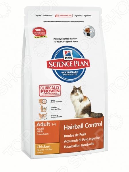 Корм сухой диетический для кошек Hills Science Plan Hairball ControlЛечебные корма<br>Корм сухой диетический для кошек Hill 39;s Hairball Control вывод шерсти из желудка - полноценный сбалансированный корм, приготовленный из отборных ингредиентов, без добавления красителей и консервантов. Каждый рацион Science Plan включает в себя комплекс антиоксидантов с клинически подтвержденным эффектом, который поддерживает иммунную систему вашего питомца. Основные преимущества данного корма:  высокое содержание растительной клетчатки способствует выведению проглоченной шерсти и предотвращает формирование безоаров;  контролируемое содержание магния и фосфора поддерживает здоровье мочевыводящих путей;  сбалансированное наличие нутриентов, которые помогают снизить выпадение шерсти;  поддерживает иммунитет кошки, благодаря комплексу антиоксидантов, которые нейтрализуют свободные радикалы. Рекомендации по кормлению: Science Plan Feline Adult Hairball Control Chicken - рекомендуется давать кошкам в возрасте от 1 до 7 лет для уменьшения образования комков из шерсти безоаров в ЖКТ. Для достижения максимального эффекта, корм необходимо давать в качестве монодиеты, не смешивая с другим питанием.       Вес кг     2     3     4     5     6     7       Сухой рацион г     30 - 45     40 - 60     50 - 70     60 - 85     70 - 100     12 на kg    Данный вид корма не рекомендуется:  котятам;  беременным и кормящим кошкам.<br>