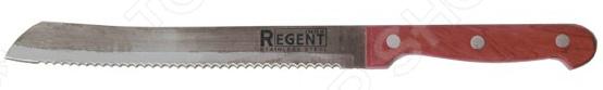 Нож Regent для хлеба EcoНожи<br>Нож Regent Eco с зубчатым лезвием из высококачественной нержавеющей стали станет незаменимым на вашей кухне. Благодаря особой форме режущей кромки, модель идеально подойдет для нарезания хлеба на аккуратные кусочки и ломтики. Лезвие долго остается острым, а цельнокованный клинок гарантирует долговечность изделия. Эргономичная объемная рукоять удобно ложится в ладонь, чтобы рука не уставала от долгой работы. Она выполнена из дерева, поэтому проста в уходе и очень надежна. Рельефная поверхность обеспечит надежный захват и не даст ножу скользить в руке при использовании. С ножом Regent Eco, вы почувствуете себя профессиональным шеф-поваром, который создает кулинарные шедевры день за днем.<br>
