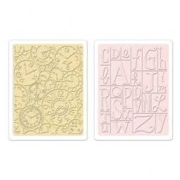 фото Форма для эмбоссирования Sizzix Textured Impressions Часы и алфавит