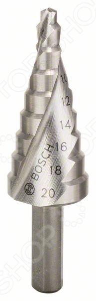 Сверло по металлу ступенчатое Bosch HSSСверла<br>Сверло ступенчатое Bosch HSS прекрасно подходит для проведения всех необходимых работ при обработке листовой стали, цветных металлов, а так же пластмассы. С его помощью вам удастся сделать идеально ровное и круглое отверстие без разнообразных сколов, при этом одновременно очищая рабочее пространство от стружки. Кроме того, вам под силу просверлить отверстия разного, необходимого именно в данном, конкретном случае диаметра, не прибегая к замене инструмента. Высококачественная быстрорежущая сталь, из которого изготовлено сверло, обеспечивает отличное качество выполнения работ, а так же долговечность использования, что, несомненно, придётся по душе любому мастеру.<br>