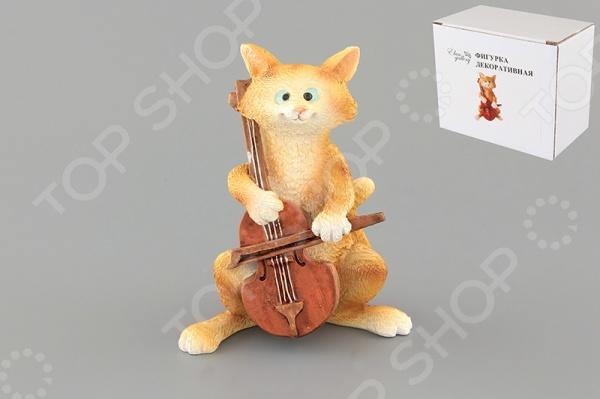Фигурка декоративная Elan Gallery Кот с виолончелью фигурки elan gallery фигурка декоративная кот с виолончелью