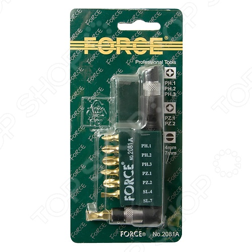 Набор бит с Г-образным держателем Force F-2081A ключ накидной 12 гранный force f 759