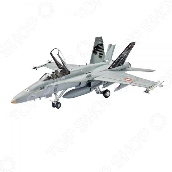 Сборная модель боевого самолета Revell F A-18C Hornet Swiss Air Force - набор сборной модели свободнонесущего среднеплана, который находится на вооружении многих стран. Самолет F A-18С Hornet наиболее популярен в кино и авиасимуляторах. Модель состоит из множества мелких деталей, которые скрепляются с помощью клея. Клей необходимо приобрести отдельно. С таким набором можно будет воспроизвести реалистичную модель военного самолета в уменьшенном формате. При сборке модели отлично тренируется память, ассоциативность и логическое мышление. Идеальный подарок для любителей головоломок и коллекционеров.