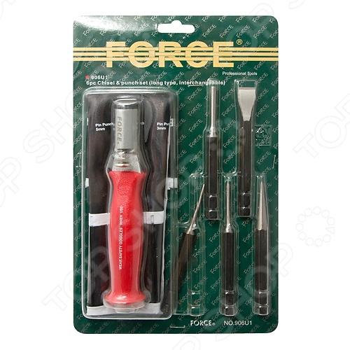 Набор: ударная рукоятка со сменными бородками, зубилом и кернером Force F-906U1 ключ накидной торкс force f 756a