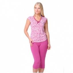 фото Костюм домашний: футболка и бриджи Santi AW15-UAT-LST-709. Цвет: ягодный. Размер одежды: 54-56