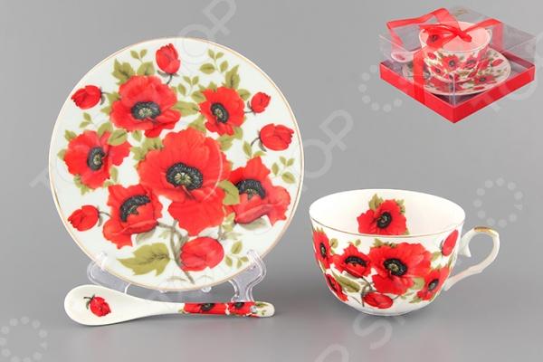 Чашка чайная с блюдцем и ложкой Elan Gallery «Маки»