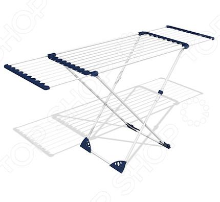 Сушилка для белья Gimi AlbatrossСушилки для одежды и обуви<br>Сушилка для белья Gimi Albatross это практичный, удобный и крайне необходимый в каждом доме аксессуар. Благодаря представленной модели, вы сможете навсегда забыть о вещах, сохнущих на батареях или на бельевых веревках в ванной комнате. За счет раздвижных телескопических секций, на ней можно сушить даже крупногабаритные вещи, например простыни или пододеяльники. Рама сушилки и линии подвеса изготовлены из нержавеющей стали с порошковым полимерным покрытием. Соединения выполнены при помощи электрической сварки, а сварные швы дополнительно окрашены для защиты от коррозии. Все открытые элементы конструкции оснащены защитными заглушками и колпачками, что предотвращает мелкие травмы и порчу вещей. Общая длина линий подвеса составляет 20 метров.<br>
