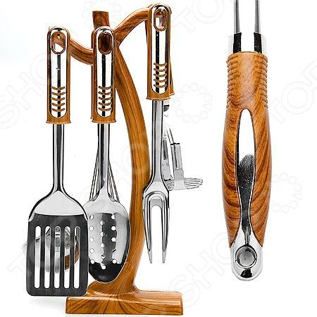 Набор кухонных принадлежностей Super Kristal SK-7618Наборы кухонных принадлежностей<br>Набор кухонных принадлежностей Super Kristal SK-7618 это комплект для перемешивания ингредиентов во время готовки, необходимые инструменты для каждой хозяйки. Принадлежности изготовлены из стали, ручки пластиковые, стилизованы под дерево, отличаются износоустойчивостью и надежностью. Безопасны для любых антипригарных покрытий. Есть подставка для удобного хранения предметов, это сэкономит пространство на кухонном столе. Приборы не окисляются со временем и не портят вкус продуктов В наборе вы найдете: лопатка с прорезями, картофелемялка, венчик, шумовка, вилка, половник и подставка.<br>