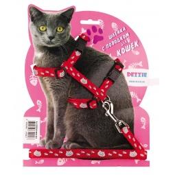 фото Набор для крупных кошек: шлейка и поводок DEZZIE «Тедди». Цвет: красный