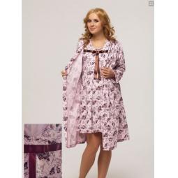 фото Комплект: халат и сорочка для беременных Nuova Vita 316.11. Рисунок: розы. Размер: 44