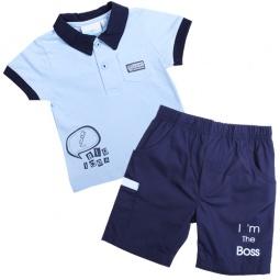 Купить Комплект: поло и шорты WWW Big idea. Цвет: голубой