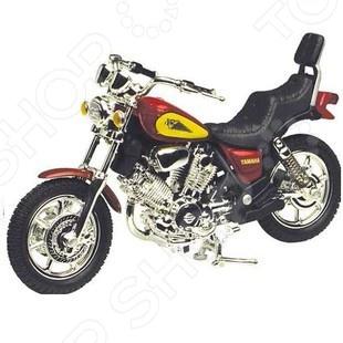 Модель мотоцикла Motormax Yamaha ViragoМодели авто<br>Модель мотоцикла Motormax Yamaha Virago это точная уменьшенная копия настоящего мотоцикла Yamaha Virago. Все детали в точности повторяют контуры реального мотоцикла. Главная особенность этой модели в качестве ее исполнения. Все детали выполнены из прочного пластика и металла. Эта модель по детализации максимально приближена к оригиналу. У мотоцикла есть несколько хромированных деталей и резиновые покрышки. Такой мотоцикл станет хорошим дополнением любой коллекции.<br>
