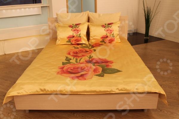 Комплект постельного белья «Алла розы». 1,5-спальный1,5-спальные<br>Комплект постельного белья Алла розы это удобное постельное белье, которое подойдет для ежедневного использования. Чтобы ваш сон всегда был приятным, а пробуждение легким, необходимо подобрать то постельное белье, которое будет соответствовать всем вашим пожеланиям. Приятный цвет, нежный принт и высокое качество ткани обеспечат вам крепкий и спокойный сон. Ткань, из которой сшит комплект отличается следующими качествами:  достаточно мягка и приятна на ощупь, не имеет склонности к скатыванию, линянию, протиранию, обладает повышенной гигроскопичность, практически не мнется, не растягивается, не садится, не выгорает, гипоаллергенна, хорошо отстирывается и не теряет при этом своих насыщенных цветов;  обладает высокой воздухопроницаемостью, хорошим охлаждающим эффектом, быстро сохнет, не страшны загрязнения, грибок и моль;  за счёт специального переплетения волокон ткань устойчива к механическим воздействиям. Постельное белье отличается экологически чистыми материалами и устойчивыми красителями. Ткань устойчива к механическим воздействиям. Перед первым применением комплект постельного белья рекомендуется постирать. Перед стиркой выверните наизнанку наволочки и пододеяльник. Для сохранения цвета не используйте порошки, которые содержат отбеливатель. Комплект сшит из следующих материалов:  Пододеяльник и наволочки 50х70 см - полиэстер 100 .  Простыня и наволочки 70х70 см - полиэстер 50 , хлопок 50 .<br>