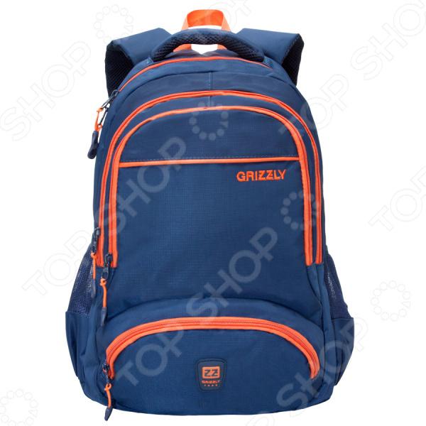 Рюкзак молодежный Grizzly RU-618-6Рюкзаки<br>Удобный и практичный аксессуар для тех, кто ценит удобство и качетсво! Рюкзак молодежный Grizzly RU-618-6 практичный городской рюкзак, который идеально подойдет, как для школьников, так и для студентов и простых офисных работников. Рюкзак оформлен двумя большими отделениями, куда можно без труда сложить стандартную папку, блокноты, тетради и документы. Предусмотрен внутренний карман для ноутбука. Два объемных передних кармана на молнии идеально подходят для органайзера, где все ручки, основные документы и телефон находятся в пределах досягаемости. Мягкая основа рюкзака выполнена из высококачественного нейлонового материала, который придает изделию дополнительную прочность и практичность.  Другие особенности данной модели городского рюкзака от бренда Grizzly:  укрепленная спинка;  мягкие вентилируемые лямки позволяют равномерно распределить нагрузку на спину;  лямки дополнительно укреплены;  боковые стяжки-фиксаторы для регулирования объема рюкзака;  выполнен из прочного и высококачественного материала, который отличается своей прекрасной устойчивостью к истиранию и воздействию атмосферных изменений.  Продуманные детали для вашего удобства! Укрепленные лямки обеспечивают долговечность рюкзака, так как он легко выдерживает даже значительный вес груза. Небольшая мягкая и укрепленная ручка позволяет носить рюкзак в руках, что очень удобно в общественном транспорте. Боковые карманы из сетки предназначены для удобного хранения воды. Во внутренний подвесной карман на молнии можно сложить важные и ценные мелочи. Изделие отличается не только своими прекрасными эксплуатационными характеристиками, но и оригинальным современным дизайном. Такой рюкзак можно взять с собой не только на учебу или работу, но и в путешествие.  Уход: Протирать мыльным раствором при температуре не выше 30 С.<br>