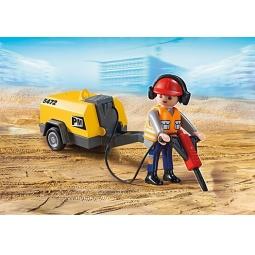фото Конструктор игровой Playmobil «Стройка: Строитель с отбойным молотком»