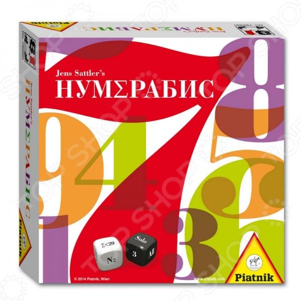 Игра развивающая Piatnik 792991 «НумЕрабис»Другие обучающие и развивающие игры<br>Игра развивающая Piatnik 792991 НумЕрабис - интересная и занимательная игра, которая поможет детям в игровой форме закрепить свои математические знания. В наборе есть 49 карточек, на которых изображены цифры от 1 до 49. Вам необходимо их разложить лицевой стороной вниз, а затем в зависимости от уровня сложности открывать две или три карты с числами. Бросьте кости, и тогда вам будет показано что необходимо делать с выпавшими цифрами. Как правило, одна партия длится около 20 минут.<br>