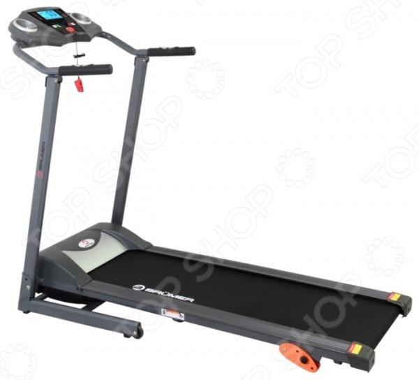 Дорожка беговая Brumer GB6290Беговые дорожки<br>Дорожка беговая Brumer GB6290 прекрасный домашний тренажер, который приведет вас в отличную форму, улучшит самочувствие и подарит огромнейший заряд бодрости. Отлично подойдет для новичков, поможет им постепенно приспособиться к активному и здоровому образу жизни. На начальном этапе самым лучшим решением будет простая ходьба и легкий бег, при этом беговое полотно должно находиться в горизонтальном положении. Постепенно, увеличивая нагрузку, можно изменять наклон, устанавливая его в один из 3-х доступных режимов. Мощность беговой дорожки невысока всего 1л.с., максимальный вес пользователя 100кг. Однако, чтобы это не повлияло на работоспособность тренажера, необходимо тщательно контролировать его режим работы если вес пользователя близок к крайнему допустимому . Встроенные 12 программ внесут значительное разнообразие в тренировки и увеличат их эффективность. Благодаря системе тестирования Body Fat тренажер определит соотношение мышц и жира в вашем организме, предлагая оптимальный режим тренировки. На поручнях установлены датчики пульса, которые позволят непрерывно контролировать состояние сердечной мышцы. Это крайне важно для новичков и пожилых людей, уровень физической подготовки которых достаточно низок. Тренажер оснащен удобным дисплеем, который показывает всю необходимую информацию касательно текущего режима тренировки и состояния пользователя. При необходимости переноса тренажера помогут транспортировочные колеса так как конструкция достаточно тяжелая, без них точно не обойтись.<br>