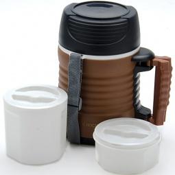 фото Термос с контейнерами Mayer&Boch Wavy. Объем: 1,3 л. Цвет: белый, коричневый, черный