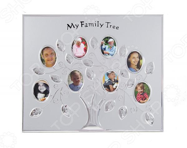 Фоторамка «Семейное дерево» 66531Фоторамки. Держатели<br>Фоторамка Семейное дерево 66531 прекрасное решение для хранения фотографий. Оригинальное панно решит проблему с отсутствием необходимого для хранения фотографий пространства. Главное преимущество данного приспособления в том, что его конструкция позволяет разместить сразу 8 небольших фотографий. Чтобы фотографии заняли свое место, их достаточно вставить в своеобразные окошки. Это позволяет создать целый коллаж из фото любимых членов большой семьи. Фоторамка из легкого алюминиевого сплава станет не просто красивым элементом декора и функциональным украшением интерьера. Такая рамка станет великолепным подарком для ваших родных, близких и друзей на самые различные праздники и значимые даты.<br>