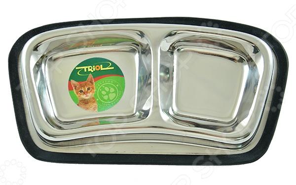 Миска для кошек двойная TRIOL на резинке 14232 миска для собак triol на резинке