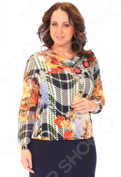 Блуза Счастье «Радости жизни»Блузы. Рубашки<br>Блуза Счастье Радости жизни незаменимая вещь в гардеробе модницы. Создана для женщин практически любой комплекции, ведь особенности кроя помогают скрыть недостатки и подчеркнуть достоинства фигуры. Эта блуза отлично подойдет для повседневного использования.  Полуприталенный фасон изделия создает женственный образ, подчеркивая все достоинства фигуры.  По краю воротника идет нашивка из кружева в виде цветов.  Втанчые шифоновые рукава с манжетами из трикотина.  Предусмотрены подплечники.  Швы обработаны эластичными нитями, поэтому не натирают кожу.  Уникальная модель, доступная только в телемагазине Top Shop . Блуза сшита из приятной на ощупь ткани трикотин, состоящей из полиэстера и вискозы. Материал хорошо тянется и практичен для ежедневной носки.<br>