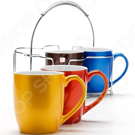 Набор кружек Loraine LR-24657Кружки. Чашки<br>Набор кружек Loraine LR-24657 изготовлен из высококачественной керамики. Посуда из этого материала позволяет максимально сохранить полезные свойства и вкусовые качества воды. Крепкий, ароматный кофе или чай, заваренный в представленных кружках, придаст заряд бодрости, позитива и энергии на весь день! Классическая форма и насыщенная цветовая гамма изделий позволят наслаждаться любимым напитком в атмосфере еще большей гармонии и эмоциональной наполненности. Объем одной кружки составляет 340 мл. В набор также входит металлическая подставка для удобного хранения. Набор кружек Loraine LR-24657 является прекрасным подарком для ваших любимых, родных и близких.<br>