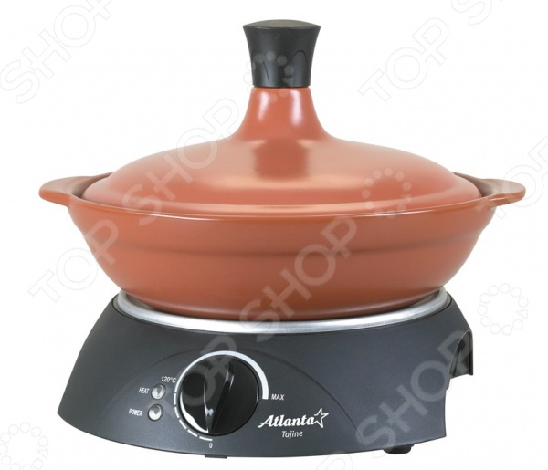 Тажин электрический Atlanta ATH-216 практичное и удобное приспособление для приготовления овощного или мясного блюда. Массивный керамический тажин имеет удобную подставку с плавным регулятором температуры. Термоизолированный корпус позволит готовить с особым комфортом. Конусовидная крышка обеспечивает циркуляцию пара и сохраняет все ароматы приготоваливаемой пищи. Благодаря обработке паром блюда становятся более мягкими и сочными. Модель имеет защиту от перегрева и световой индикатор работы.