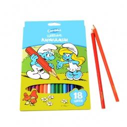фото Набор карандашей цветных Росмэн «Смурфики»: 18 цветов