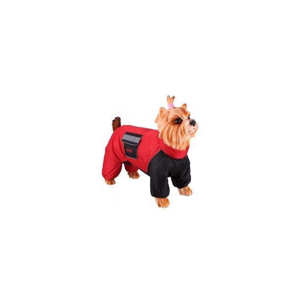 фото Комбинезон-дождевик для собак DEZZIE «Лабрадор-ретривер». Цвет: красный, черный. Материал подкладки: флис. Пол: сука