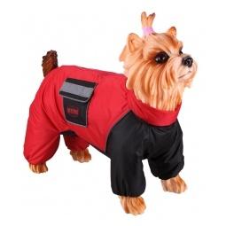 Купить Комбинезон-дождевик для собак DEZZIE «Лабрадор-ретривер». Цвет: красный, черный