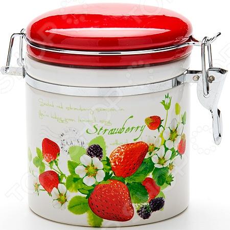 Банка для сыпучих продуктов Loraine Strawberry набор банок для сыпучих продуктов loraine бабочки 6 предметов 25633