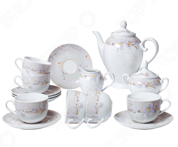 Чайный сервиз Bekker BK-7146Чайные и кофейные наборы<br>Чайный сервиз Bekker BK-7146 не просто станет прекрасным дополнением к набору кухонных принадлежностей, но и внесет яркий акцент в сервировку вашего стола. К тому же, он будет отличным приобретением или подарком для любителей чая и позволит превратить обычное чаепитие в настоящий ритуал. Посуда отличается стильным дизайном и великолепным качеством исполнения, изготовлена из высококачественного фарфора и украшена оригинальным цветочным рисунком. В комплект входят шесть чайных чашек с блюдцами, заварочный чайник, сахарница и сливочник. Можно мыть в посудомоечной машине.<br>