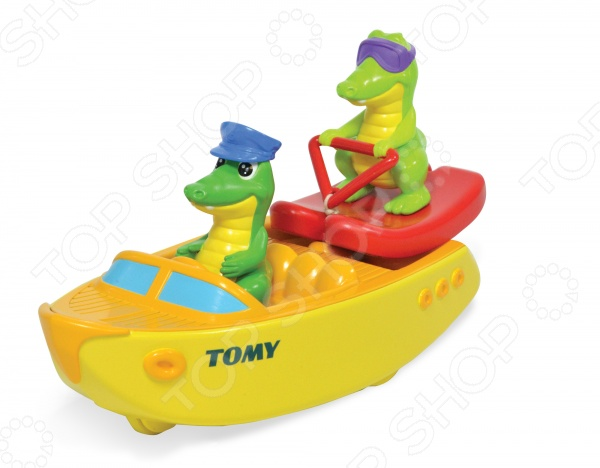 Игрушка для ванны Tomy «Крокодил на водных лыжах»Игрушки для купания малышей<br>Игрушка для ванны Tomy Крокодил на водных лыжах станет отличным подарком для малыша, ведь с ней купание малыша превратится в весёлое и увлекательное занятие! Игрушка выполнена из прочных и безопасных материалов, развивает воображение ребенка и положительно влияет на формирование мелкой моторики.<br>