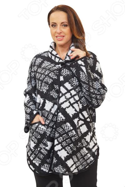 Пончо Milana Style «Азазель»Верхняя одежда<br>Пончо Milana Style Азазель это универсальная накидка, которая подойдет на любой возраст и стиль одежды, подойдет как для праздничных мероприятий, так и для повседневной носки. Выделка шерсти, фактурный рисунок и необычный дизайн, делает эту вещь уникальной. Крупный узор в клетку из буклированой пряжи выглядит очень объемно и стильно. Классический крой и удобная длина ниже бедра будут идеально смотреться на женщинах с любым типом фигуры и любого возраста. Воротник стойка с застежкой на пуговицы удлиняет шею и украшает область декольте, а широкие рукава скрывают недостатки в области плеч. На фотографии пончо представлено с брюками Уран . Материал очень приятный к телу шерсть 30 ; пан 70 , прекрасно подойдет для прохладной осенней погоды. Такая ткань не линяет, не скатывается, формы от стирки не теряет. Швы обработаны текстурированными, эластичными нитями, благодаря чему не тянутся и не натирают кожу.<br>