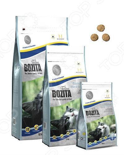 Корм сухой для кошек с проблемным пищеварением Bozita Sensitive Diet &amp;amp; StomachСухой корм<br>Корм сухой для кошек с проблемным пищеварением Bozita Sensitive Diet Stomach полноценный и комплексный рацион для вашего питомца. Низкая энергетическая ценность и содержание всех необходимых питательных веществ, витаминов и антиоксидантов делают этот корм идеальным решением для кошек с чувствительным пищеварением и склонностью к проявлению пищевых аллергий, излишним весом и низким уровнем активности. Корм включает в себя только ингредиенты натурального происхождения, поэтому вкус и аромат питания понравится даже самым требовательным к еде кошкам. Сбалансированное сочетание белков, жиров и минералов делает корм максимально полезным для питомца. Корм содержит овес, обработанный особым способом. Он призван поддерживать здоровье желудка и создавать благоприятную микрофлору в желудочно-кишечном тракте. Почему стоит выбрать сухой корм для кошек с проблемным пищеварением Bozita Sensitive Diet Stomach для вашего питомца:  содержит до 93 мяса лосося, который отличается низкой аллергенностью;  сбалансированный состав всех необходимых веществ;  комплекс MacroGard для укрепления иммунной системы кошки;  обеспечивает надежную антиоксидантную защиту для организма благодаря высокому содержанию витамина Е и селены. Как перевести кошку на новый сухой корм для кошек с проблемным пищеварением Bozita Sensitive Diet Stomach. Если вы решили начать кормить питомца кормом для кошек с проблемным пищеварением Bozita Sensitive Diet Stomach это следует делать постепенно. Чтобы кошка быстрее усвоила новый вид корма, смешайте привычное для неё питание с хрустящими гранулами. В последующие 7 дней понемногу увеличивайте содержание сухого корма, до тех пор пока она полностью не перейдет на него. Норма кормления. Для нормального самочувствия вашей кошки следует придерживаться следующей нормы:       Вес животного кг     1     2     3     4     5     6     7     8       Количество корма в день г     14 