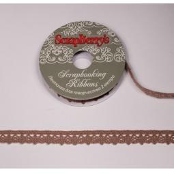 фото Тесьма кружевная ScrapBerry's. Ширина: 1,1 см. Цвет: коричневый