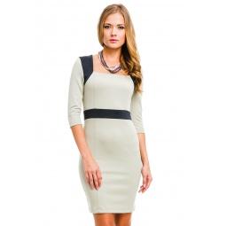 фото Платье Mondigo 5054. Цвет: бежевый. Размер одежды: 46