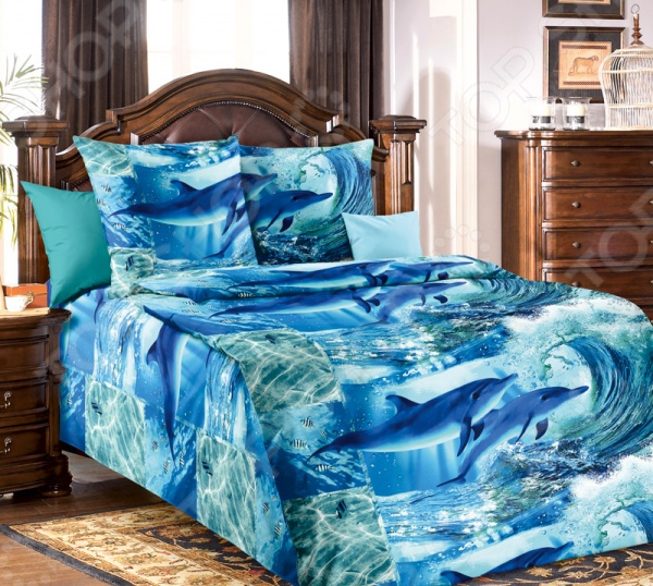 цена Комплект постельного белья Белиссимо «Дельфинарий» онлайн в 2017 году