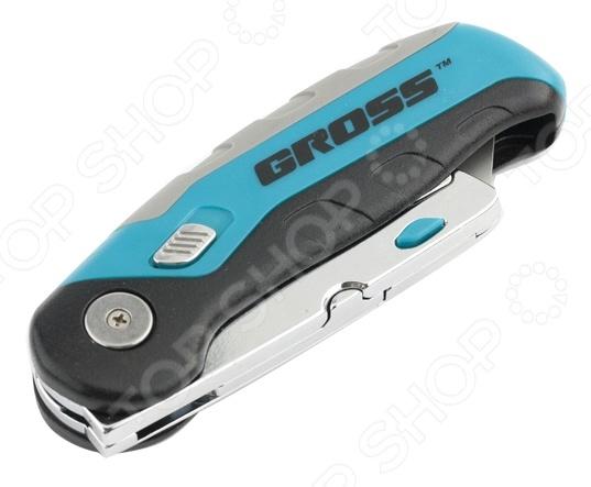 Нож ремонтно-монтажный складной GROSS 78882Строительные ножи<br>Нож ремонтно-монтажный складной GROSS 78882 станет отличным дополнением к вашему строительному инвентарю. При помощи представленной модели, вы с легкостью заточите карандаш, отрежете необходимый кусок картона или линолеума. Выполненное из стали SK-2 трапециевидное лезвие, расположено в специальном держателе, который одновременно выполняет функцию контейнера для запасных полотен 2 шт. . Это в свою очередь обеспечивает быструю замену режущего элемента при необходимости. Эргономичный пластиковый корпус-рукоятка обеспечит надежный и уверенный хват. При необходимости нож складывается.<br>